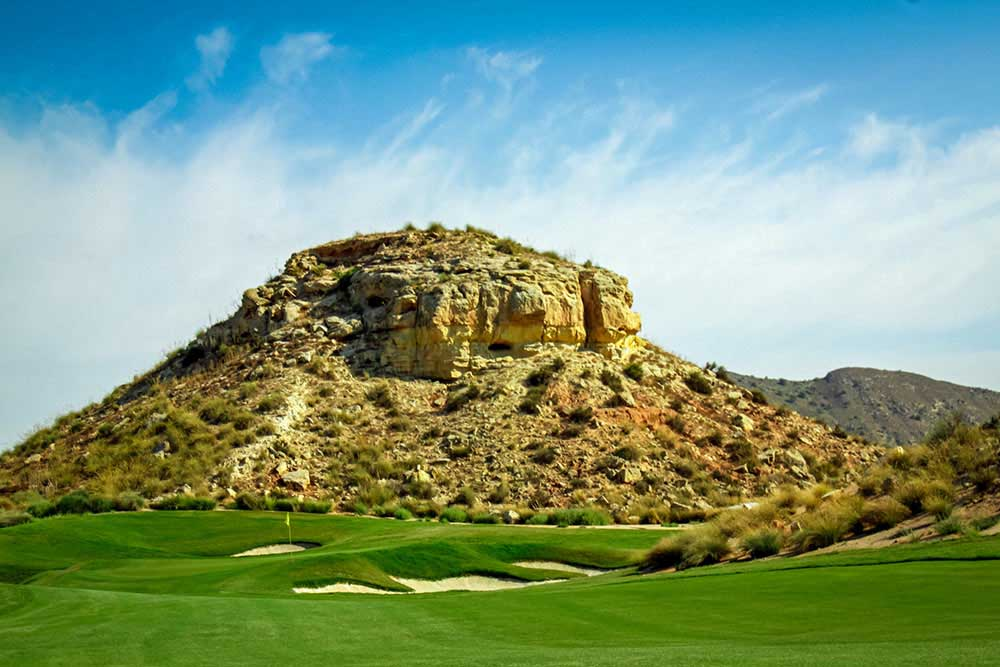 a dramatic rock formation on el valle golf course