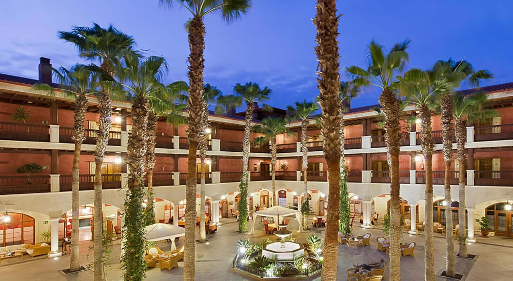 the hotel courtyard at night
