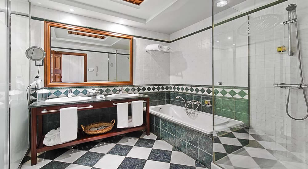 a luxury bathroom with bath and shower