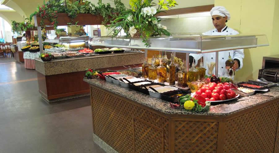 a buffet display in the restaurant