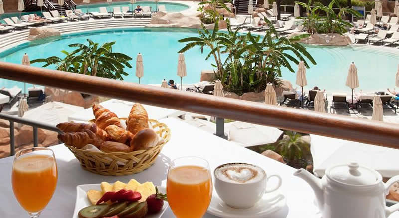 breakfast on the terrace overlooking the pool
