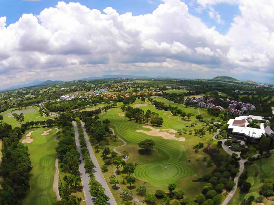 ariel view of the valley 9 holes of Laem Chabang golf course