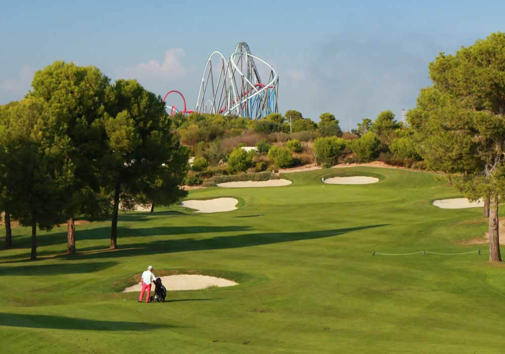 the 9th fairway with port aventura in the background