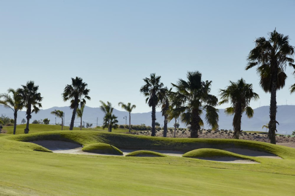 strategicallly placed bunkers on the Mar Menor golf course