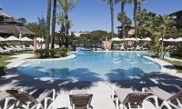 sunbeds round the pool - islantilla golf resort hotel