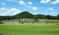 golfers on the 7th green of the Lake 9 at Laem Chabang