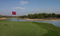 a close up view of the 11th green