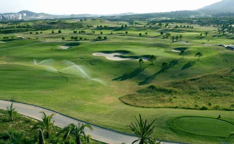 irrigation sprinklers on the Villaitana Levante Golf course - Benidorm